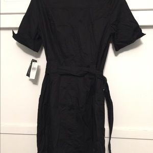 Black stretch shirt dress